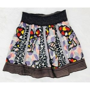 FREE PEOPLE Skirt Colorful 100% Cotton Contrast